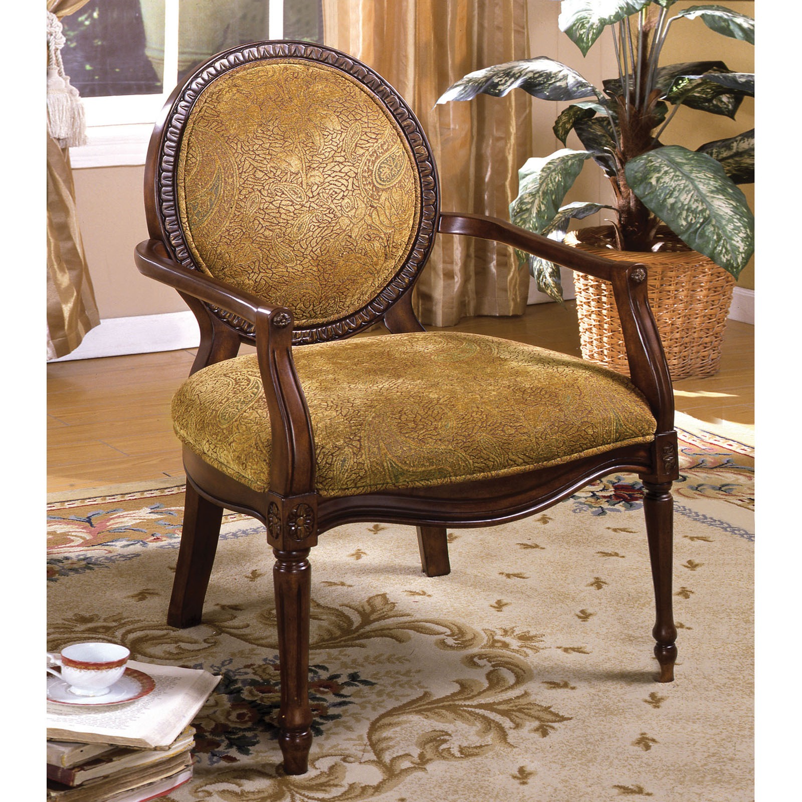Furniture Of America Valer Traditional Style Fabric Padded Accent Chair |  Hayneedle