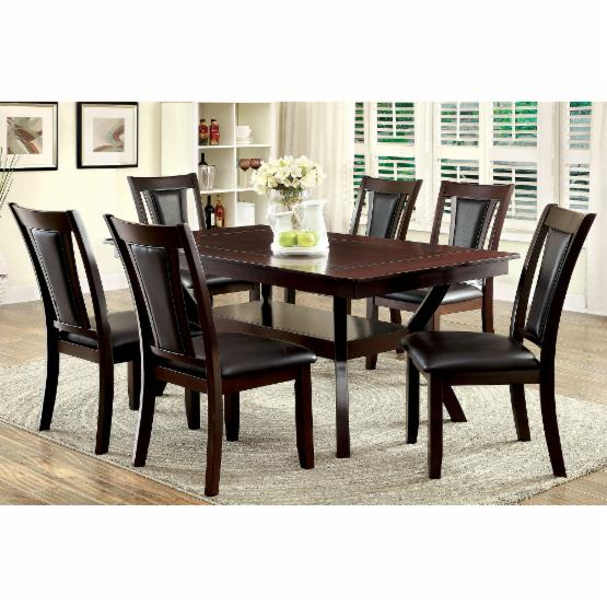 Furniture of America Mullican 7 Piece Display Top Dining Table Set - Dark Cherry
