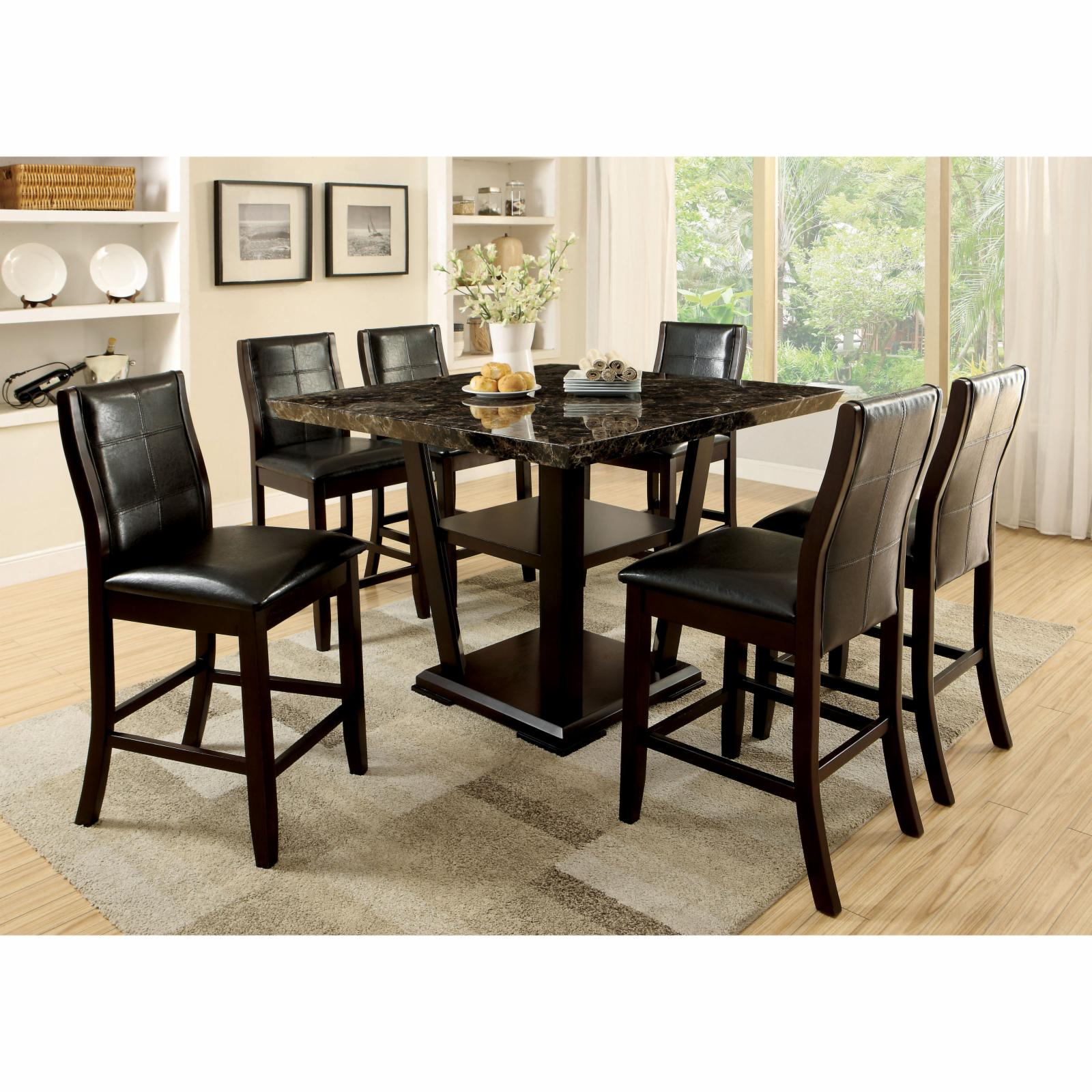 Furniture of America Newrock 7 Piece Counter Height Faux ...