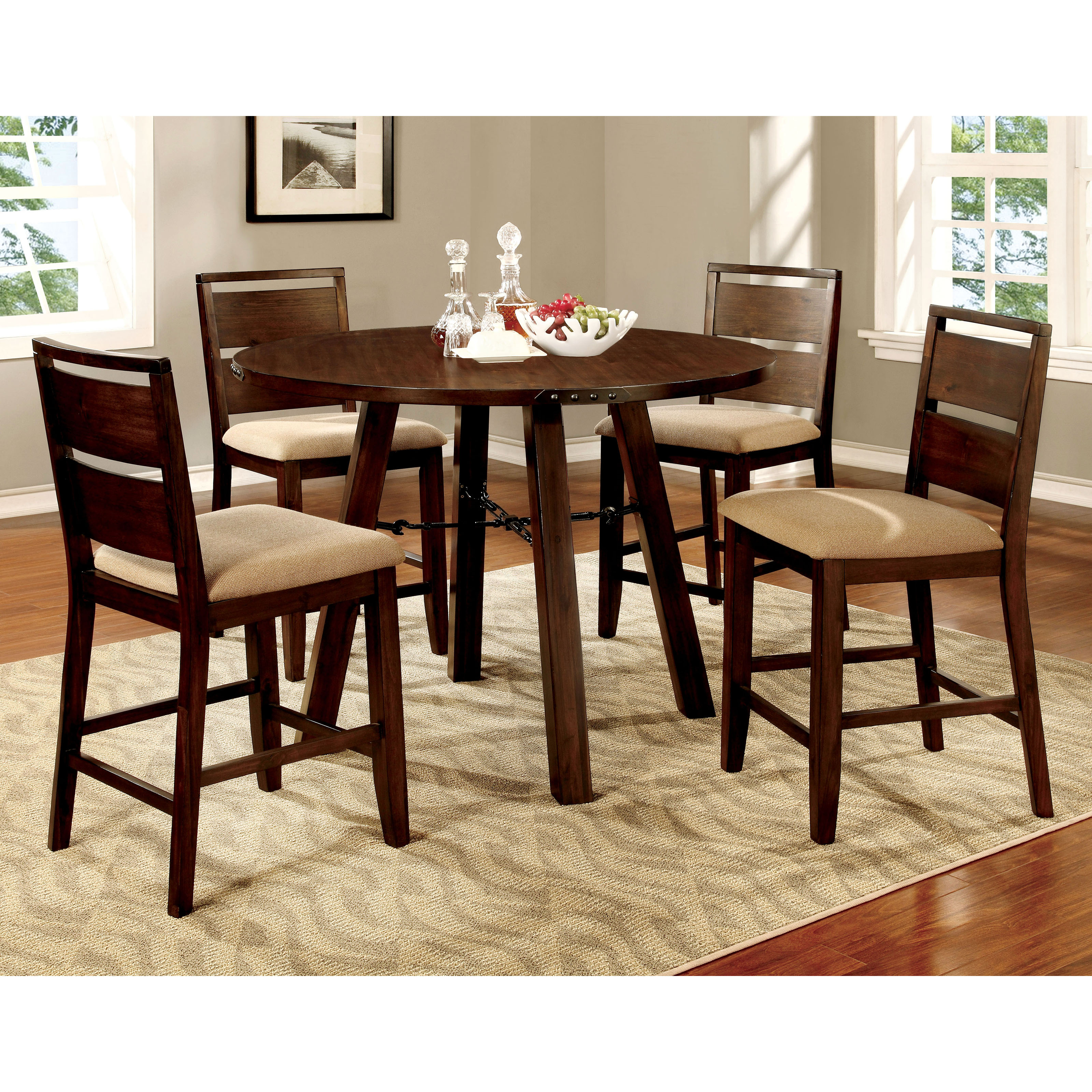 Counter height round table and chairs - Furniture Of America Olmsted 5 Piece Counter Height Metal Framed Dining Table Set Hayneedle