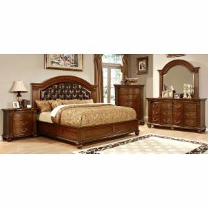 Furniture of America Tevis Upholstered Low Profile Bed Set