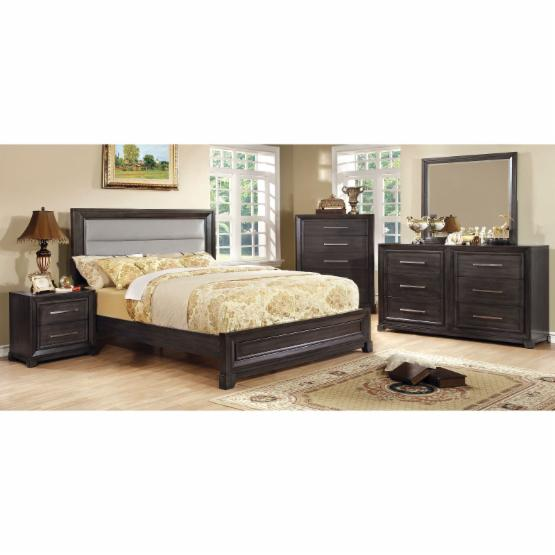 Furniture of America Ridenhour Upholstered Panel Bed Set