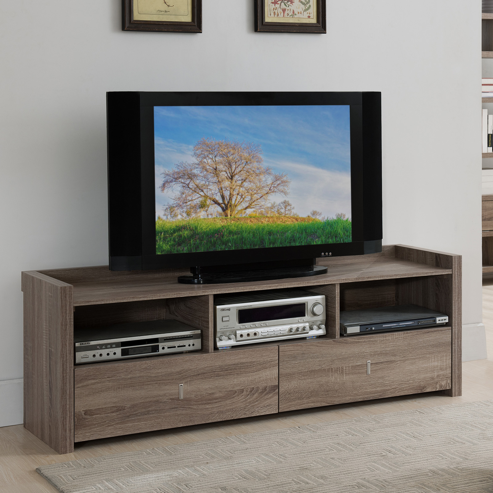Furniture of America Helenza 60 in Vintage Walnut Entertainment