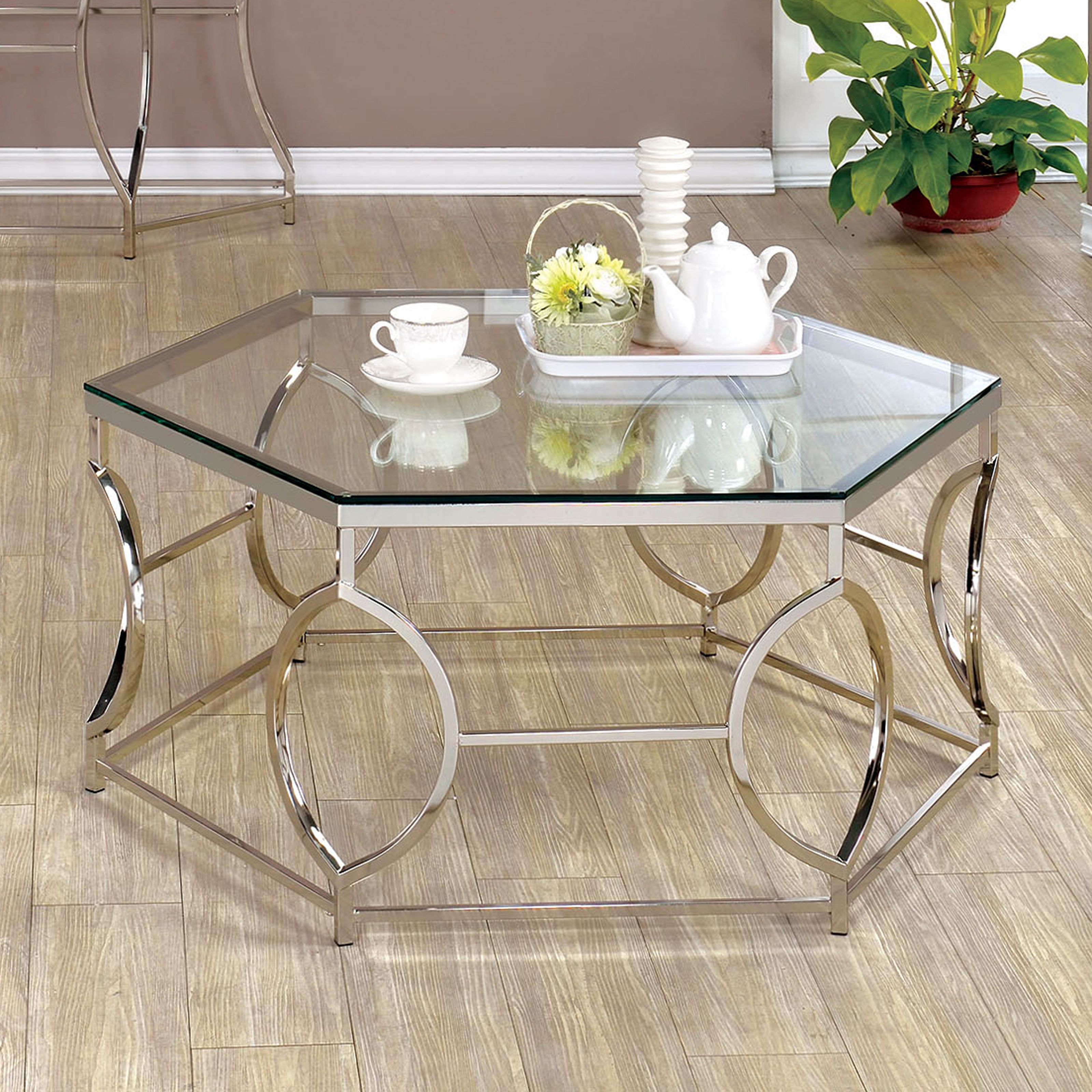 Furniture Of America Remus Hexagonal Coffee Table, Chrome