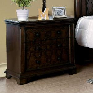 Furniture of America Halen Traditional 2-Drawer Wood Inlay Nightstand