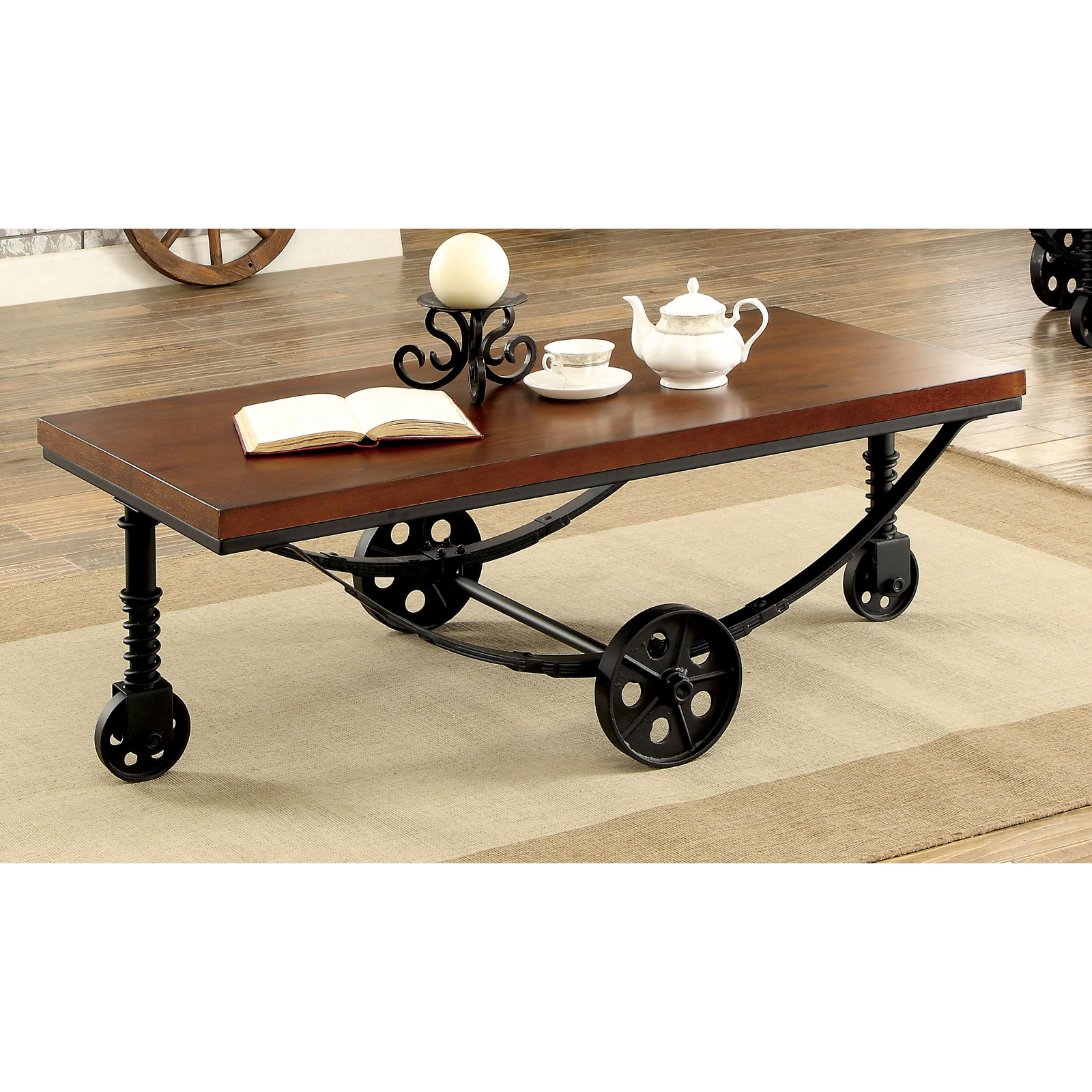 Furniture Of America Mator Industrial Style Caster Wheel Coffee Table