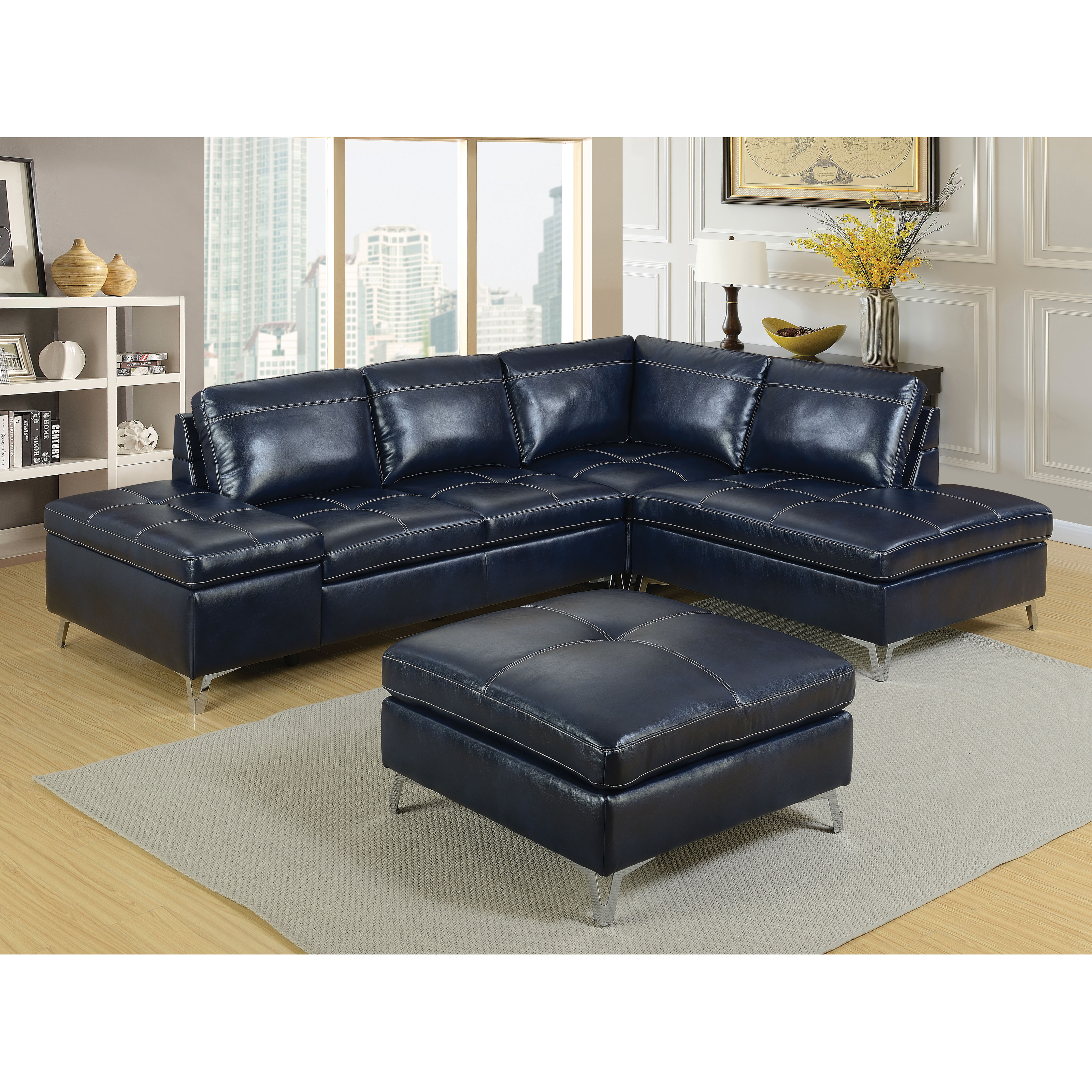 Furniture Of America Brandon Sectional Sofa With Ottoman