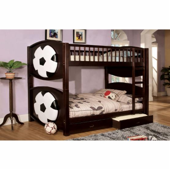 Furniture of America Soccer Twin over Twin Bunk Bed with Storage Drawers
