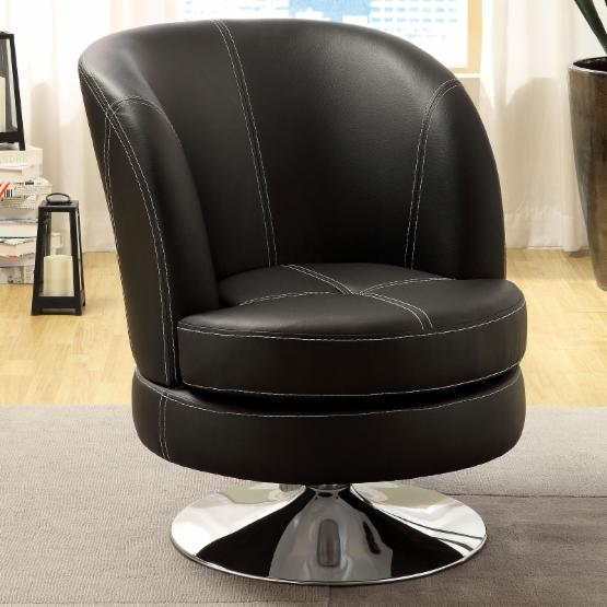 Furniture of America Brenise Padded Leatherette Swivel Chair