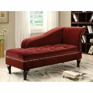 Furniture of America Visage Fabric Storage Chaise - Colonial Red