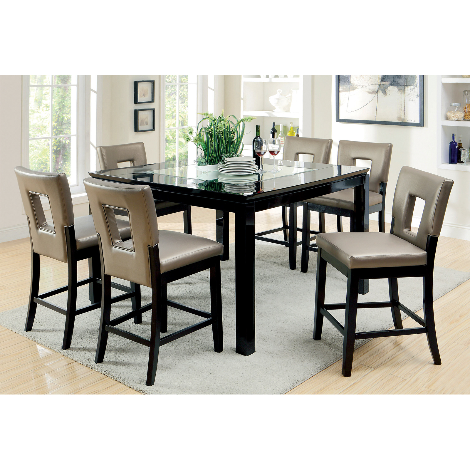 Furniture of America Vanderbilte 7 Piece Wood with Glass Inlay Dining Set    Black   Hayneedle. Furniture of America Vanderbilte 7 Piece Wood with Glass Inlay