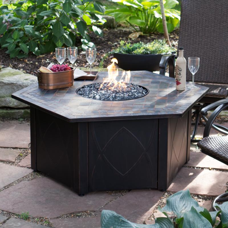 UniFlame 55-in. Decorative Slate Tile LP Gas Outdoor Fire...