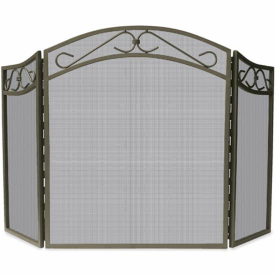 3 Fold Bronze Wrought Iron Arch Top Screen with Scrolls