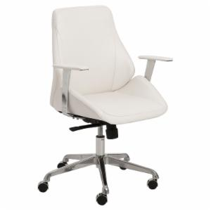Euro Style Bergen Low Back Office Chair - White / Aluminum