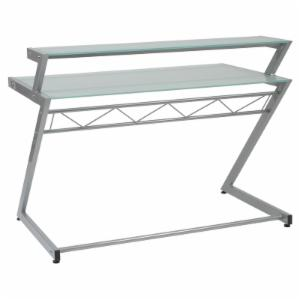 Euro Style Z Deluxe Medium Desk with Shelf - Aluminum / Frosted Glass