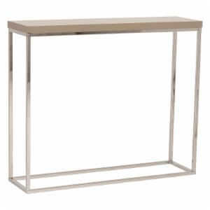 Euro Style Teresa Console Table - Taupe Lacquer / Polished Stainless Steel