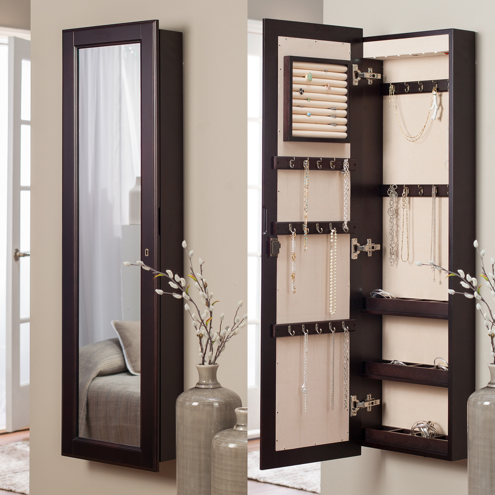 & Belham Living Swivel Cheval Mirror Jewelry Armoire | Hayneedle Pezcame.Com