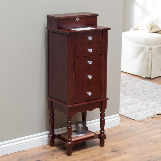 Anna Locking Jewelry Armoire with Valet Box - Cherry