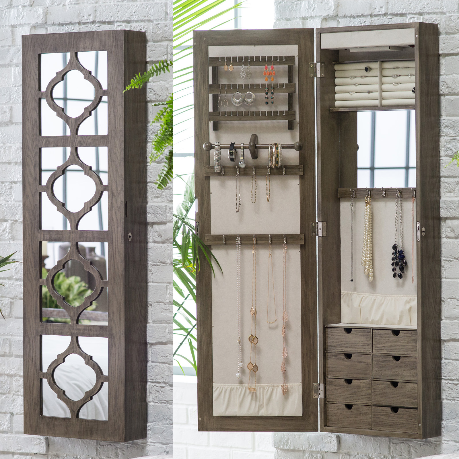 quick view belham living lighted locking quatrefoil wall mount jewelry armoire