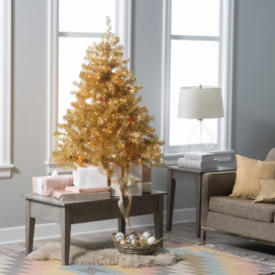 4.5 ft. Classic Champagne Gold Clear Pre-Lit Full Tabletop Christmas Tree