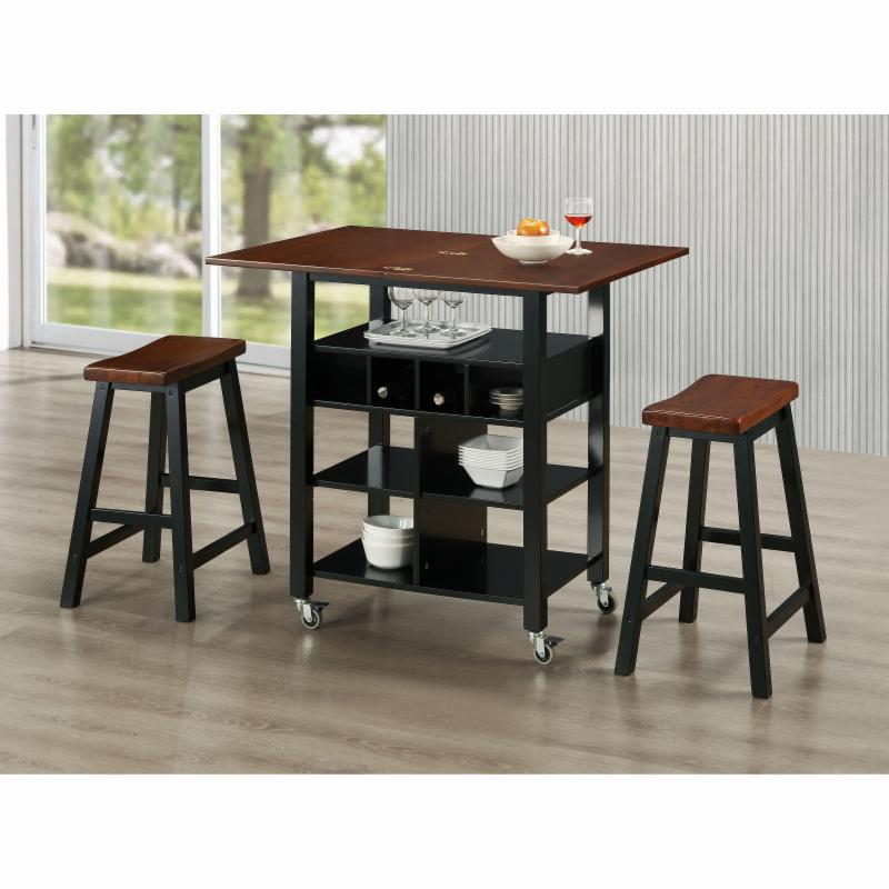 4D Concepts Phoenix Kitchen Island and Two Stools - 43928