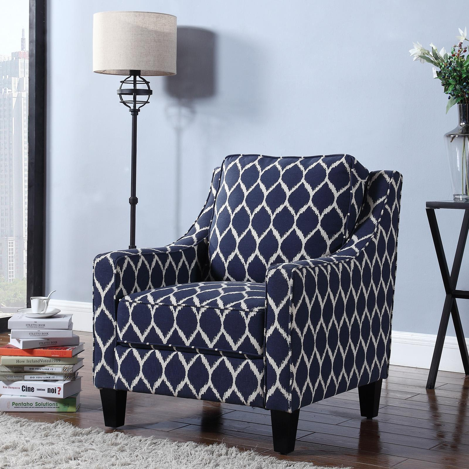 Best Master Furniture Tori Upholstered Blue Living Room Arm Chair - 3019B
