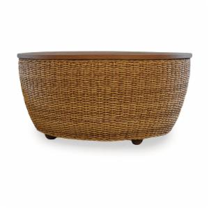 Lloyd Flanders Tobago All-Weather Wicker 40 in. Cocktail Table with Resysta Stained Teak Top