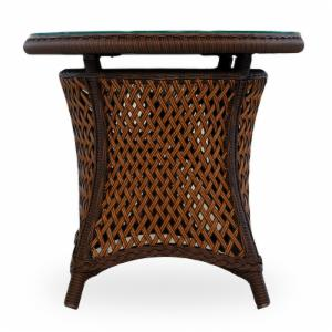Lloyd Flanders Grand Traverse All-Weather Wicker 24 in. Round End Table with Glass Top