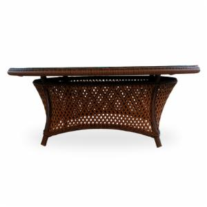Lloyd Flanders Grand Traverse All-Weather Wicker 42 in. Round Conversation Table with Glass Top