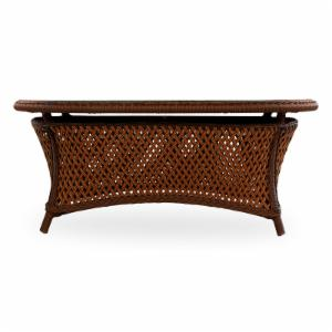 Lloyd Flanders Grand Traverse All-Weather Wicker 42 x 25 in. Oval Cocktail Table with Glass Top