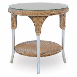 Lloyd Flanders Mod All-Weather Wicker 24 in. Round End Table