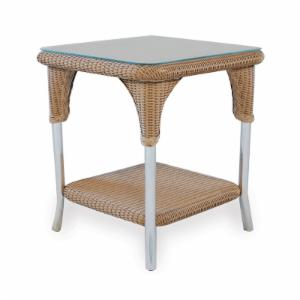 Lloyd Flanders Mod All-Weather Wicker Square End Table
