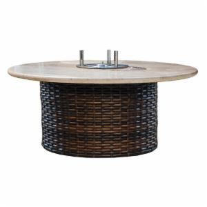 Lloyd Flanders Contempo 48 in. Round Conversation Table with EcoSmart Fire