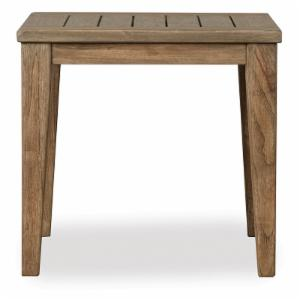 Lloyd Flanders Teak Square Tapered Leg Patio End Table