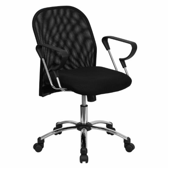 Flash Furniture Mid-Back Office Chair with Chrome Base - Black