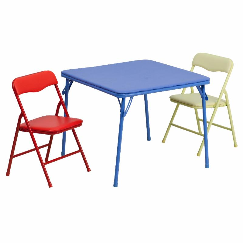 Flash Furniture Kids Colorful Folding Table and 2 Chairs - JB-10-CARD-GG