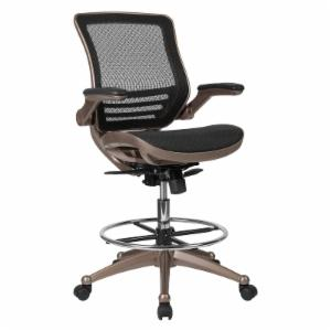Flash Furniture Mid-Back Transparent Black Mesh Drafting Chair