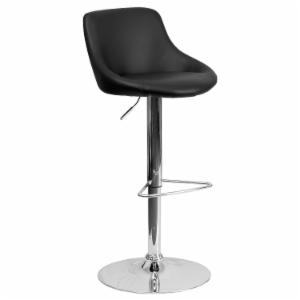 Flash Furniture Contemporary Bucket Seat Adjustable Vinyl Bar Stool with Chrome Base