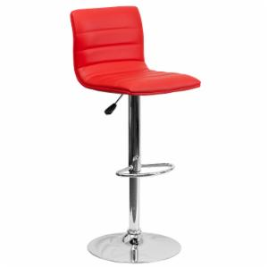 Flash Furniture Contemporary Horizontal Line Design Adjustable Bar Stool with Chrome Base
