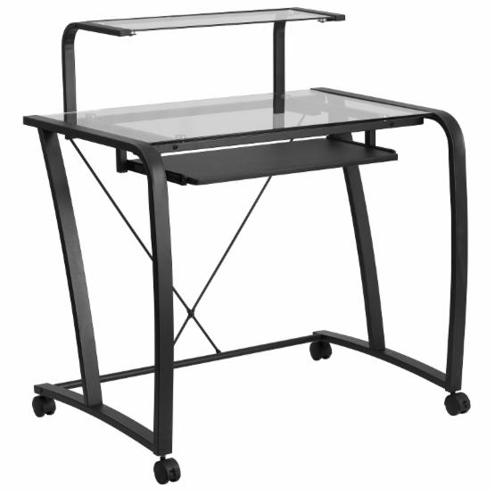 Flash Furniture Mobile Glass Computer Desk with Pull-Out Keyboard Tray and Monitor Platform
