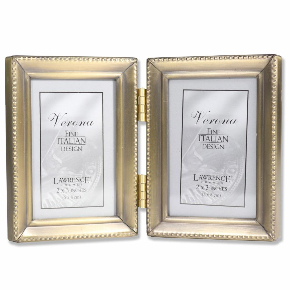 Lawrence Frames Antique Gold Brass Beaded Edge Double Hinged Picture