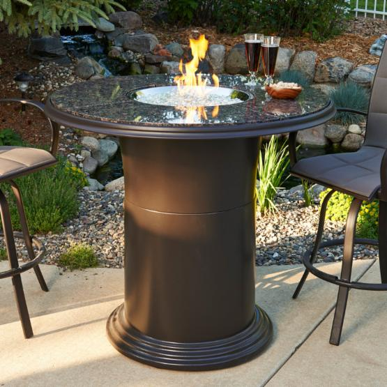 Outdoor GreatRoom 48 in. Grand Colonial Bar Height Fire Pit Table with Free Lazy Susan Burner Cover and Optional Glass Guard