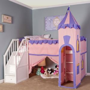 NE Kids Schoolhouse Princess Loft Bed with Stairs