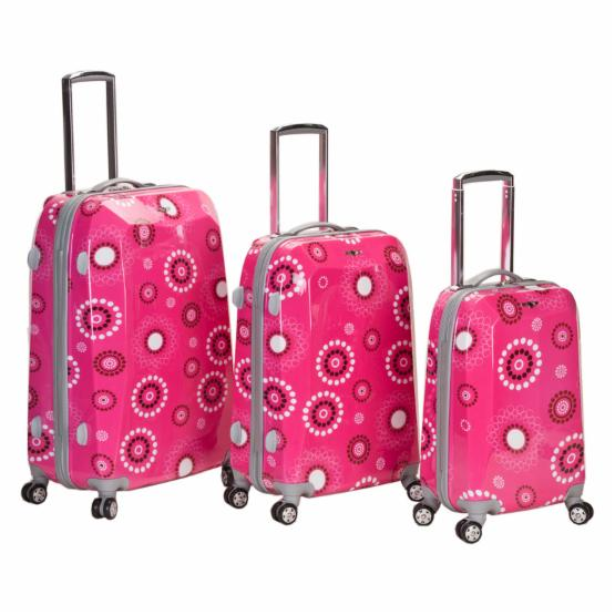 Rockland 3 Piece Vision Polycarbonate/ABS Luggage Set - Pink Pearl