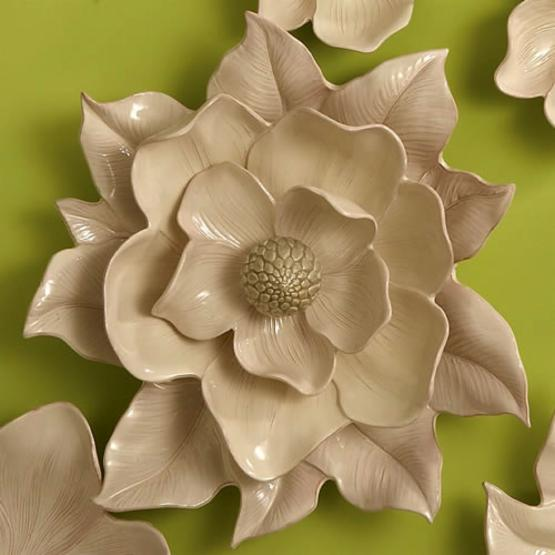 Global Views Ivory Magnolia Flower Wall Art