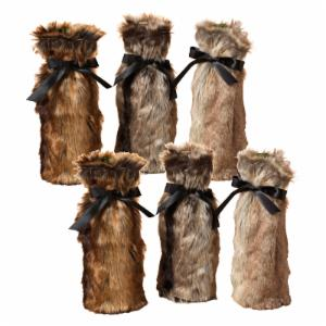 Gerson Company 12.6 in. Faux Fur Wine Bottle Covers - Set of 6
