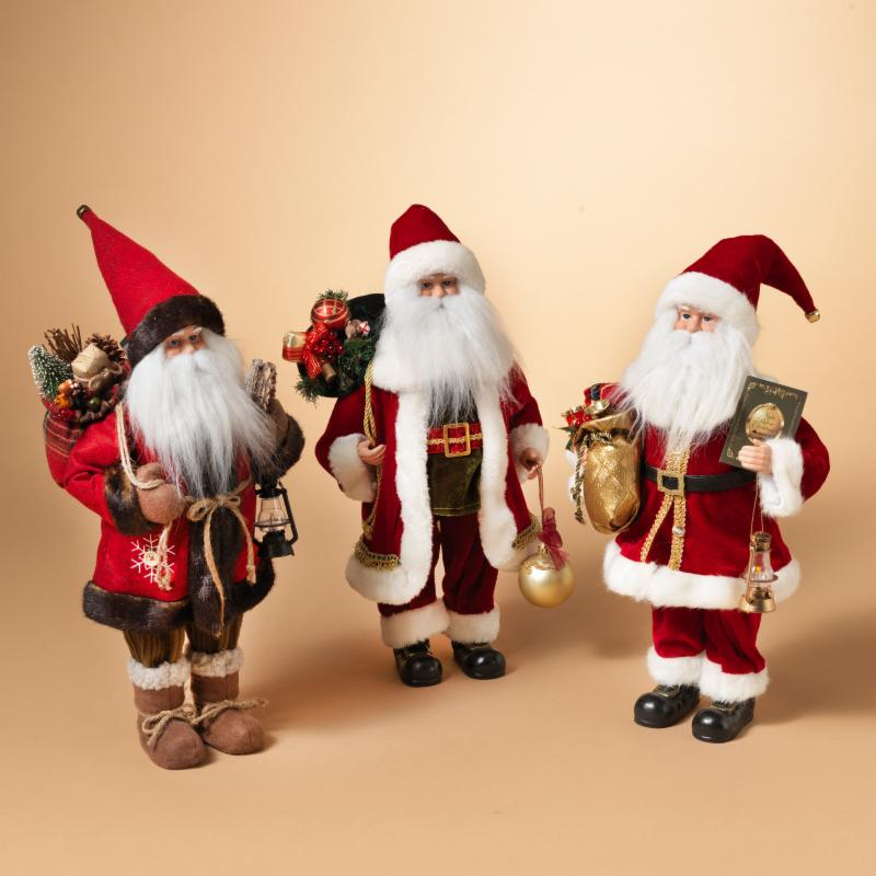 Gerson 18 in. Decorated Tabletop Santa - Set of 3 - 2306070