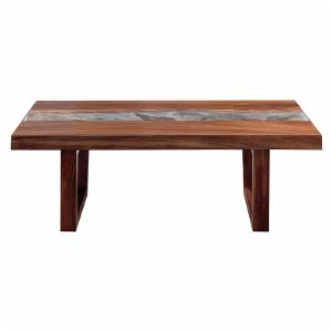 REZ Furniture Live Edge and Glass Coffee Table
