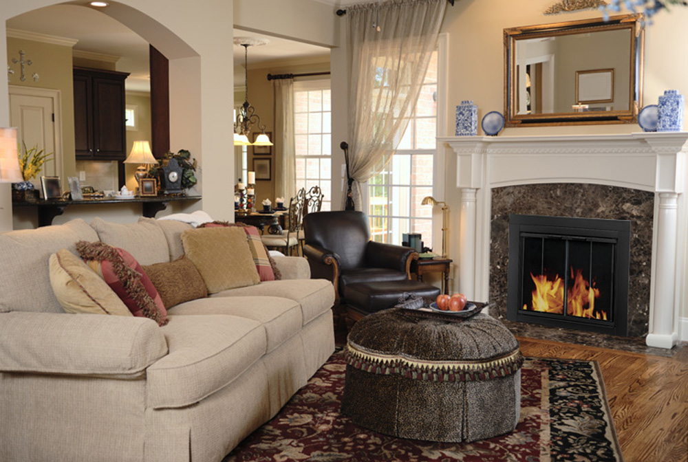 pleasant hearth alsip cabinet fireplace screen and glass doors black and sunlight nickel fireplace screens at hayneedle