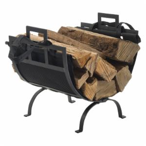 Pleasant Hearth 1085 Wrought Iron Log Holder with Canvas Tote - Black